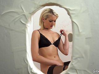 Blondie tries her first BBC through a gloryhole