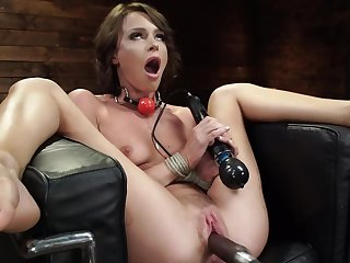 Lovely girl Emma Hix enjoys zooid fucked by the equipment
