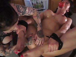 Fava Beans and Nice Amber - tattooed mature gagged upon lesbian femdom