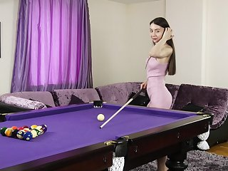 Kinky solitarily chick Melissa Muse plays pool and pleasures the brush pussy