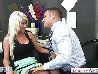 Busty blonde in black stockings rides lion-hearted cock like a great pro
