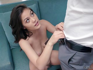 Sweet girl has some interesting kinky plans with the guy's penis