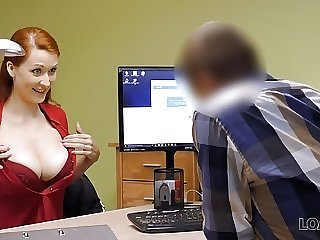 LOAN4K. Red-haired beauty has vilifying sex for cash for pet