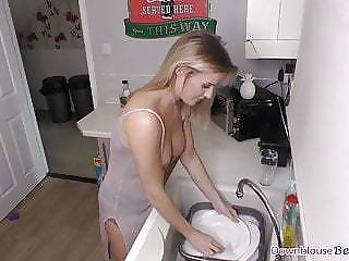 Beautiful busty blonde washing the dishes relative to downblouse