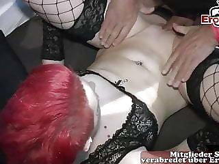 Redhead bitch short hair german creampie gangbang orgy