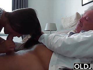 Grandpa Fucks Teen 18 years old parsimonious pussy in bedroom
