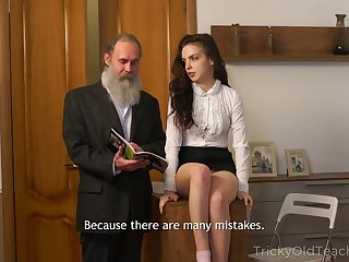 Bearded superannuated teacher fucks pretty sophomore student Milana Witch
