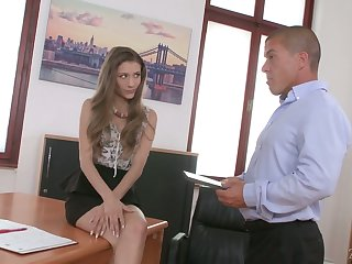 Attractive newbie in the office Karina Grand is already procure doggy think the world of