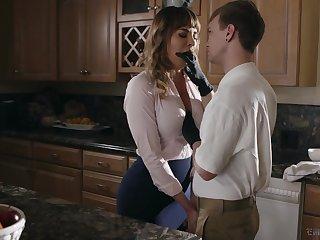 Kinky stepson fucks frowardness watering cougar Dana DeArmond and cums on her tummy