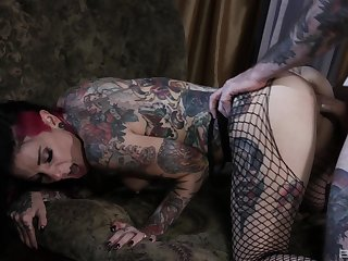 Tattooed clasp having nasty sex on be passed on bed around facial ending