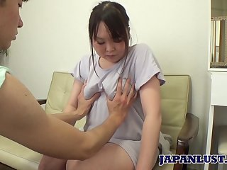 Chubby Asian housewife Hikari Kawanishi gets her pussy fucked and creampied