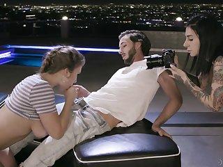 Naked female operator Joanna Angel is filming hot XXX scene starring Lena Paul