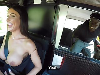 Black stud fucks the busty taxi driver and cums on her tits
