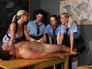Young schoolgirls are exquisite to learn new porn facility