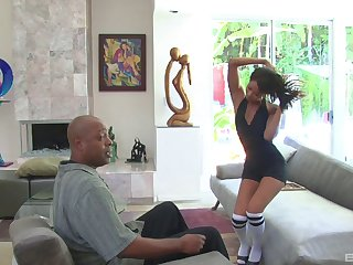 Black challenge with a fat dick fucks tight pussy of stunning Cali Sweets